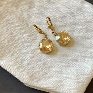 Anthropologie Champagne Gold Crystal Drop Earrings